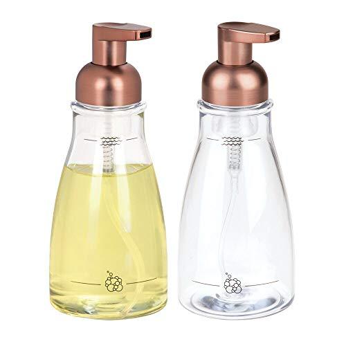 mDesign 2er-Set Schaumseifenspender aus Kunststoff - Seifenschaumspender mit ca. 414 ml Füllmenge - Seifenspender wiederbefüllbar mit rostfreiem Pumpkopf - durchsichtig/bronzefarben