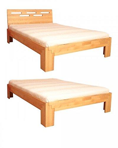 Coemo Massivholz Bett 140 x 200 Holzbett Birke natur geölt Kopfteil Einzelbett Gestell