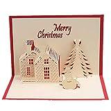 Mitlfuny✈✈✈3D-Weihnachtskarte Pop-Up-Karte Lustiger Einzigartige 3D-Feiertags-Postkarte Geschenk Weihnachten Religion Boxed Frohe Weihnachten Danken Ihnen