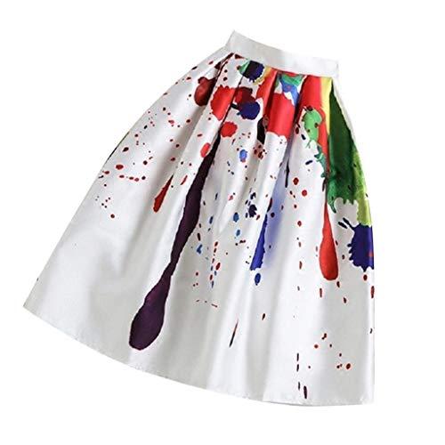 Morgen Holz Kostüm - Isshop Damenrock   Mittellanger, ausgestellter, bedruckter Frauen-Faltenrock mit hoher Taille, Vintage-A-Linie Frauen-Rock mit hoher Taille und passendem Oberteil für die abendliche Freizeit am Strand