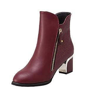 Fuibo Damen Stiefel, Mode Bare Boots Starke Ferse Pumps England Martin Stiefel Spitz Damenschuhe | Stiefeletten Ankle Boots Schlupfstiefel Chelsea Boots (37.5 EU, Wine)