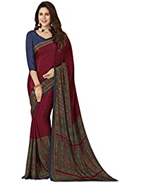 Ligalz Crepe Silk Saree (Saree_L0111182_#1 Red | Fabric Material :Crepe Silk)