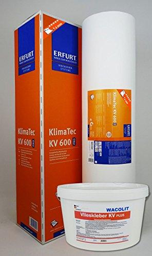 WACOLIT-SET 1 Rolle (15m²) ERFURT KlimaTec Pro KV 600 + 8kg Thermovlieskleber, Thermovlies Dämmung für den Innenbereich