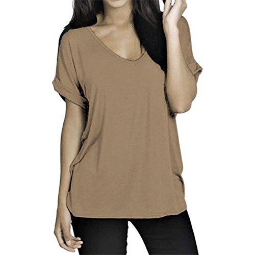 CYBERRY.M T-shirt Femme Fille Manches Courtes Casual Chemise Blouse Vest Top Kaki