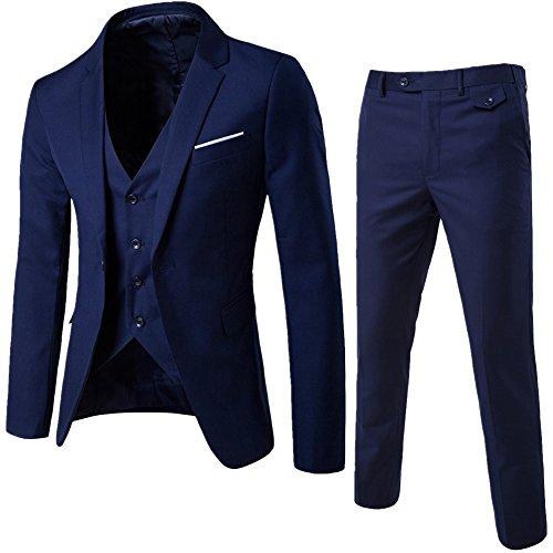 Abito uomo 3 pezzi vestito completo smoking slim fit aderente con blazer, pantaloni, gilet blu navy 3xl