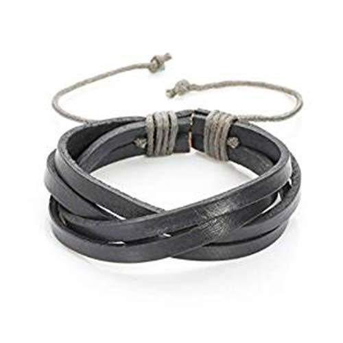 Treend24 - Pulsera de piel auténtica para hombre, trenzada, estilo surfero, motero, punk, para hombre, con cierre de cordón, color gris