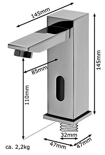 Sanlingo – Infrarotsensor-Waschtischmischer, Temperaturregler, Batterieversorgung, langer Auslauf,  Gold - 4