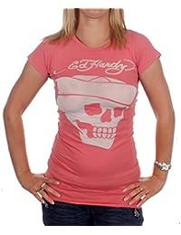 ED HARDY Damen Sailor Skull Burnout Tunic T-Shirt Peach