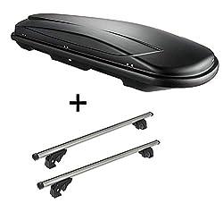 VDP Dachbox VDPJUXT400 400Ltr schwarz abschließbar + Dachträger/Relingträger LION2 kompatibel mit Ford Kuga II (5 Türer) ab 12