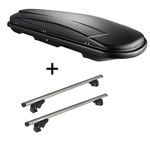 VDP Dachbox VDPJUXT600 600Ltr abschließbar + Dachträger/Relingträger LION2 kompatibel mit Nissan Qashqai (J11) (5 Türer) ab 14