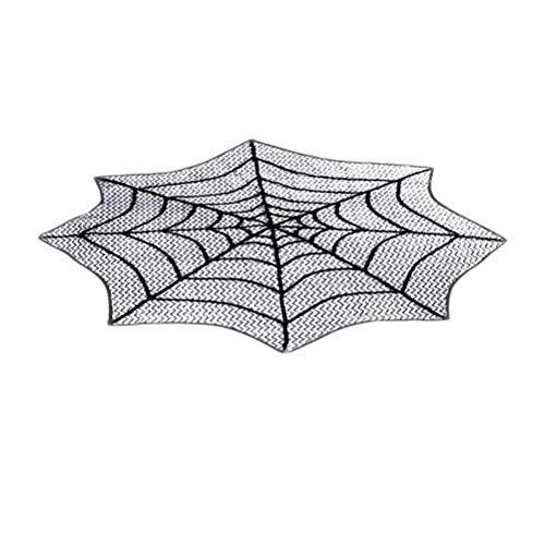 BESTONZON 30 Zoll Halloween Tischdecke, Spitze Tischläufer, schwarz Spinnennetz perfekt für Halloween, Dinner-Partys und Scary Movie Nights