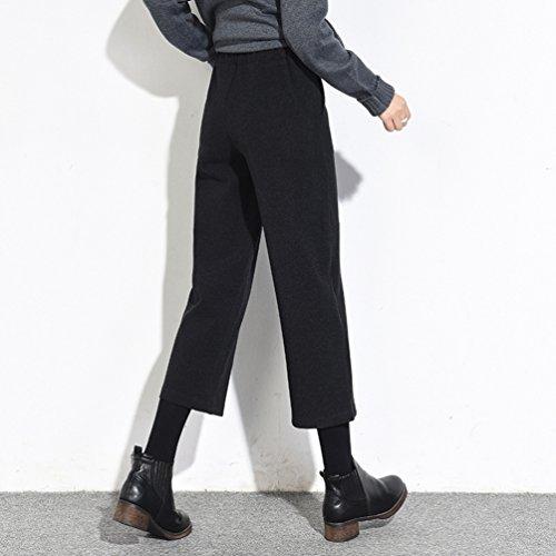 Zhiyuanan Femmes élastiqué Jambe Large 7/8 Pantalon Palazzo Taille Haute Casual Pantalons Automne et Hiver Noir