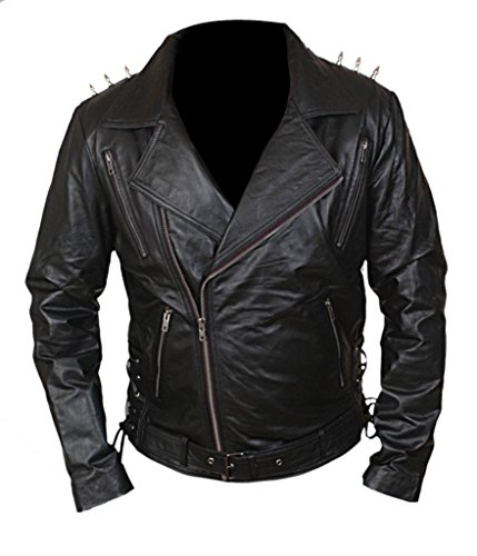 F&H Men's Ghost Biker Metal Spikes Rider Genuine Leather Jacket 5XL Black