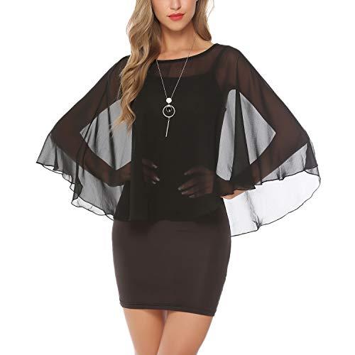 Abollria Damen Elegant Chiffon Bolero Festliche Cape Leichte Schulterjacke Fließende Bolerojacke zum Kleid -
