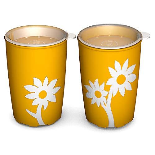 Ornamin Becher mit Anti-Rutsch Blume 220 ml gelb/weiß und Trinkdeckel 2er-Set | Antirutsch Schnabelbecher für Halt und sicheres Greifen | Trinkhilfe, Pflegebecher, Schnabeltasse, Kinderbecher