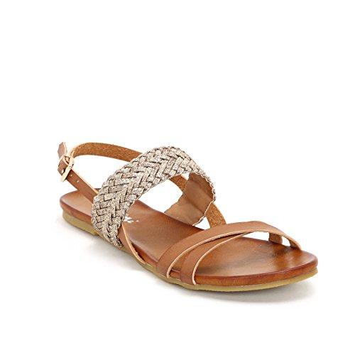 Prendimi by scarpe&scarpe - sandali bassi con fascia intrecciata in glitter - 37,0, cuoio