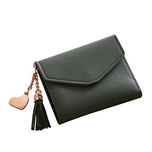 Portafoglio Donna, Tpulling Borsa della borsa della moneta della nappa della raccolta del raccoglitore delle donne semplice (Black) Green