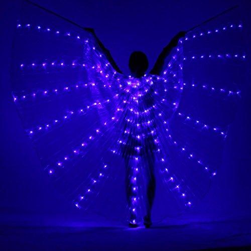 Byjia Frauen Led-Licht Bauchtanz Mehrfarbige Isis Flügel 360 Grad Große Schmetterling Stützen Performance Professionelle Outfit Kostüm Blue (Für Kostüm Schmetterlings Verkauf Flügel)