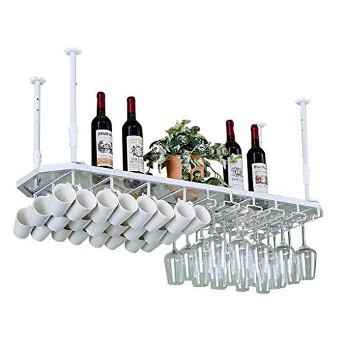 LXDDP Achteckige Weinregal Glasplatte Wand Deckenhalter Moderne einfache Weinregal kopfüber Becher hängen Weinregal Becherhalter -