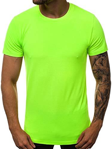 OZONEE Herren T-Shirt T Shirt Tshirt Kurzarm Kurzarmshirt Tee Top Sport Sportswear Rundhals U-Neck Rundhalsausschnitt Unifarbe Basic Einfarbig O/181227X GRÜN-NEON L