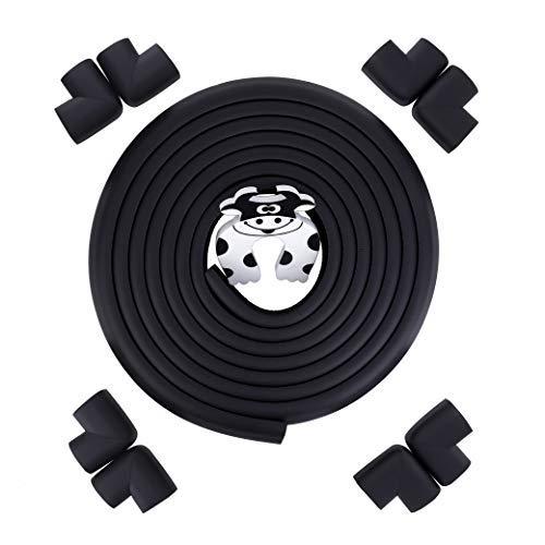Ecken und Kantenschutz 5m Länge Tischkante Kissen Beschützer +8 Eckenschützer mit 1 Schaumstoff Tür Stopper Für Scharfe Möbel Ecken Tischschutz Schwarz