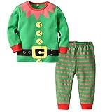 BESTOYARD Baby Elf Kostüm Baby Elf Outfit Gestreift Hose Kleinkind Kinder Baby Weihnachten Kostüm Größe L 2 Stück (Grün)