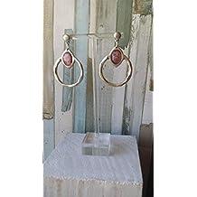 Pendientes bañados en plata lagrima rosa, de mujer, hechos a mano, artesanos