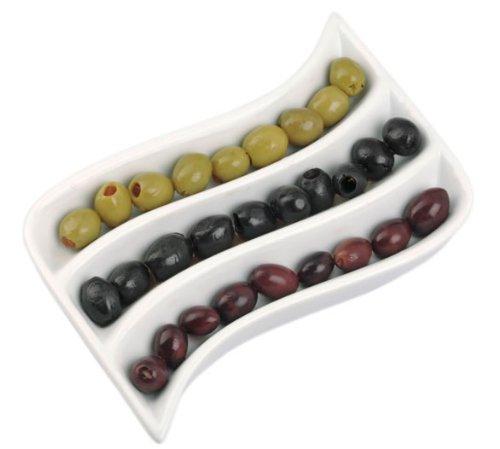 Olivenschale für Tapas, Antipasti etc. Keramik in Wellenform Größe 18 x 14 x 2,5 cm