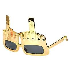 Idea Regalo - MX Medio Dito Gesto Occhiali da Sole, Divertente della novità Eye Glasses, Creativo Partito Deco Occhiali, di Colore Oro