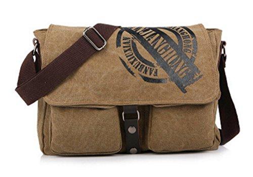 YOJAP Unisex Vintage Canvas Umhängetasche Schultertasche Messenger Bag für Reise Sport Freizeit (Khaki) Khaki