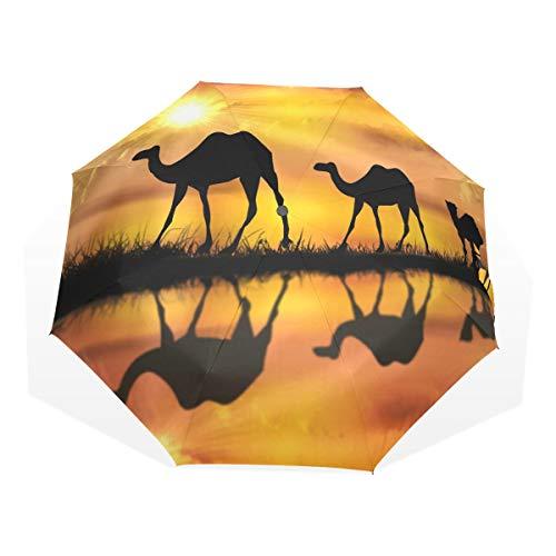 Regenschirm anpassen 3 Falten Schöne Sunset Kamele Desert Oasis Windproof Lightweight Anti-UV -