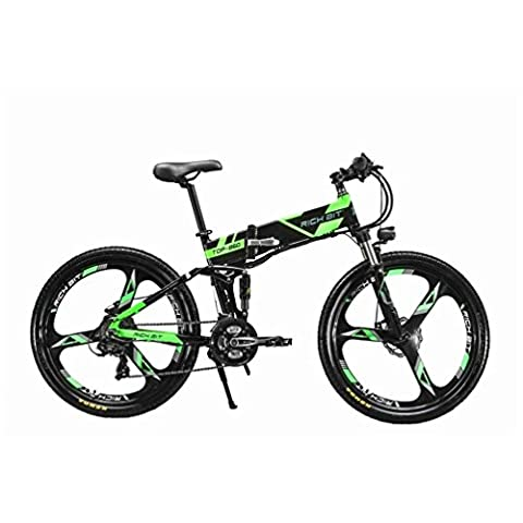 JIMAI RT-860 Mans Folding Electric Bike, Mountain Hybrid MTB Bike Bicycle Cycling Dual Suspension, 250 Watt 36V 21 Speeds, With foot Bike Air Pump, A Tool set, one piece mounting tool and Smart Bike Computer