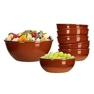 MamboCat 7tlg. Schalen-Set: Salat-Schale groß 1L + 6 kleine Suppen-Schälchen 350 ml braun glasiert Ton-Geschirr Servier-Schüssel mediterrane Küche Gastro