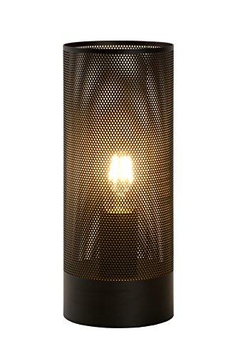 Lucide Beli - Tischlampe - Durchmesser 12 cm, Metall, E27, 60 W, Schwarz, 12 x 12 x 30 cm