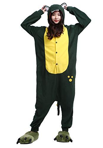 Alligator Schwanz Kostüm - Unisex Pyjama/Schlafanzug/Einteiler, Tiermotiv, für Halloween, Cosplay-Kostüm Gr. Medium, Green Alligator