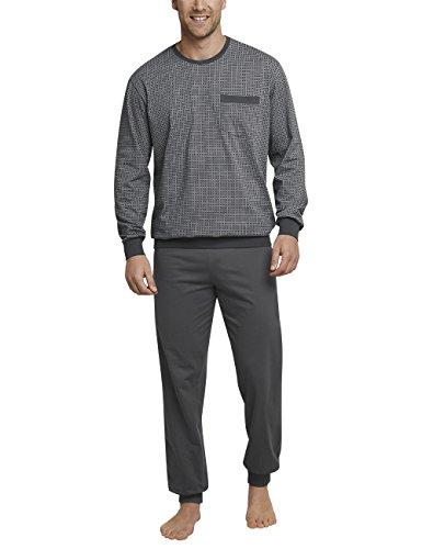 Schiesser Herren Zweiteiliger Schlafanzug Anzug Lang m. Bündchen, Grau (Dunkelgrau 205), Small (Herstellergröße: 048)