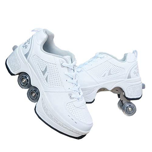 Unbekannt Schuhe mit Rollen Skateboardschuhe,Inline-Skate,2-in-1-Mehrzweckschuhe,Verstellbare Quad-Rollschuh-Stiefel-Männliche und weibliche Paare-43 EU/White
