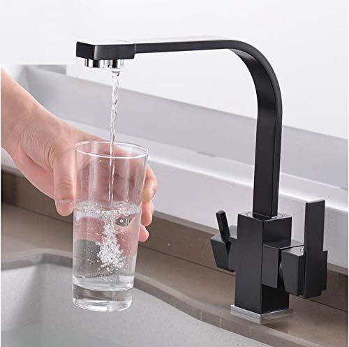 Filtro rubinetto per cucina acqua potabile foro singolo nero acqua calda e fredda lavelli per acqua miscelatore montato sul ponte