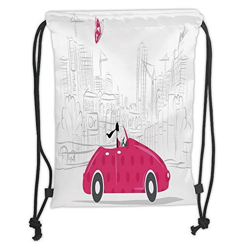 Trsdshorts Drawstring Backpacks Bags,Cars,Woman Driving Pink Vintage Car Sketchy Cityscape and Butterfly Girls Cartoon,Hot Pink Grey Black Soft Satin,5 Liter Capacity,Adjustable String Closur
