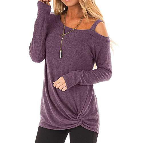 (Innerternet Damen Langarm Rundkragen T-Shirt Einfarbig Sexy Schulterfrei Oberteil Elegant Lässige Pullover Sweatshirt mit Knot Side Twist Oversize Hemd Jumper Bluse)