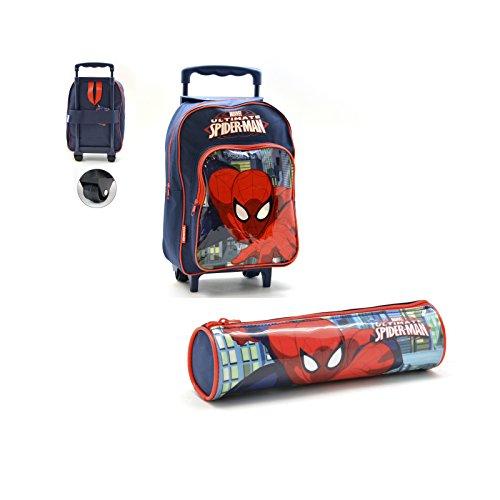 Spiderman: zaino trolley gr + astuccio cilindro