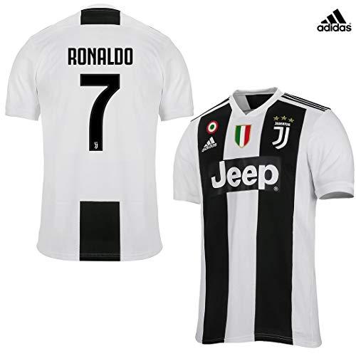 JUVENTUS Maglia Ronaldo Gara Home Ufficiale 2018/19 - Originale - Bambino - Patch Scudetto e Coppa Italia Sempre Incluse - Taglia 128 cm 7/8 Anni - Nessuna Patch