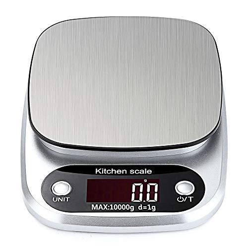 Bilancia da cucina digitale, bilancia alimentare (10 kg/1 g), bilancia elettronica di precisione, funzione tara, per la casa, la cucina