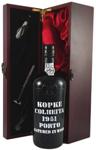 1951 Kopke Vintage Tawny Colheita Port in Weinschatulle ,Satin ausgekleidet ,mit vier Wein...