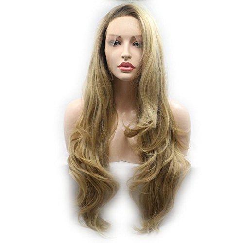 OMBRE Synthetische Lace Front Perücken braun zu blond Zwei Tones Farbe Braun Wurzeln Blonde Body Wave Perücke Hitzebeständige Kunstfaser Haar weich Spitze Perücke (2-ton-blonde Perücke)