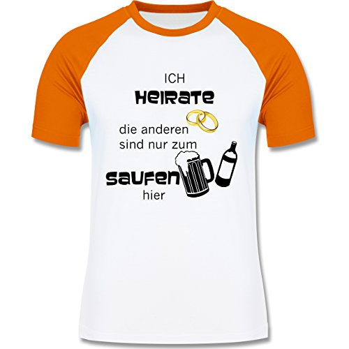 JGA Junggesellenabschied - Ich heirate - die anderen sind nur zum saufen hier - zweifarbiges Baseballshirt für Männer Weiß/Orange