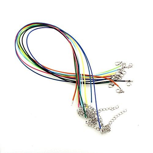Perlin 10 Wachsband Halsband mit Karabiner 46cm Mehrfarbig Basteln Mix Farben BAUMWOLLKORDEL Gewachst Schmuck C28 (Großhandel Karabiner)