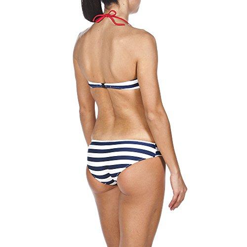 arena Damen Bandeau Streifen Bikini Navy/Red