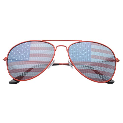 Unbekannt American Flag Aviator Sunglasses USA Red [USA Import]