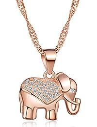 """Infinite U Elefante Elegante Mujeres Collar De Plata De Ley 925Rodiada Circonita Cúbica Colgante Cadena de 18"""", Rose Gold"""